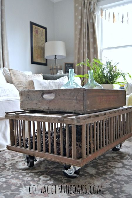 25 best crate coffee tables ideas on pinterest wine for Wooden chicken crate plans