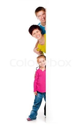 Beautiful fun family behind a white blank stock photo on Colourbox