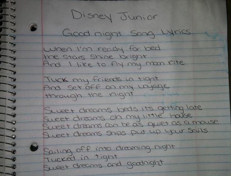 Good night song lyrics on Disney Junior! Your