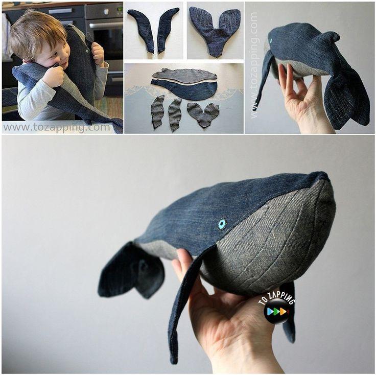 Manualidades con vaqueros. Hoy presentamos una manualidad de una ballena hecha con tela vaquera, una forma original de reciclar los vaqueros que ya no