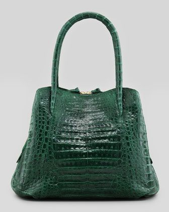 Crocodile Medium Trapezoid Tote Bag, Green by Nancy Gonzalez at Bergdorf Goodman.