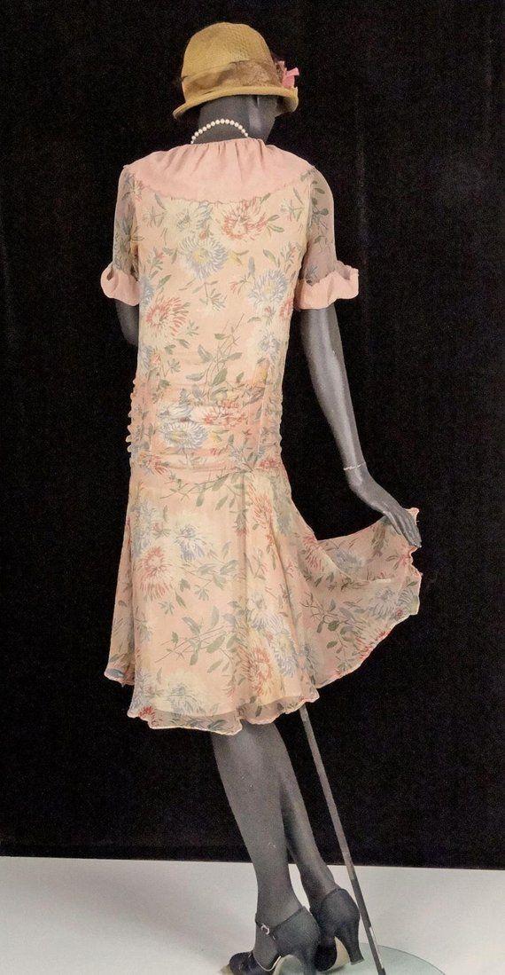 1920s 1930s flapper dress peach floral silk chiffon drop waist etsy