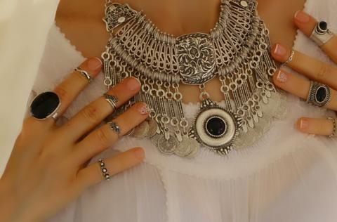 Siyah Yüzük, Ayarlanabilir / Antik Gümüş, Yüzük, Takimania - 1