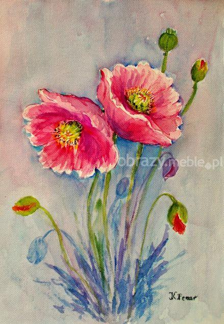 Różowe maki. Subtelna kompozycja kwiatowa, świetnie zaprezentuje się w każdym wnętrzu. Praca wykonana techniką akwareli na płótnie, bez oprawy.