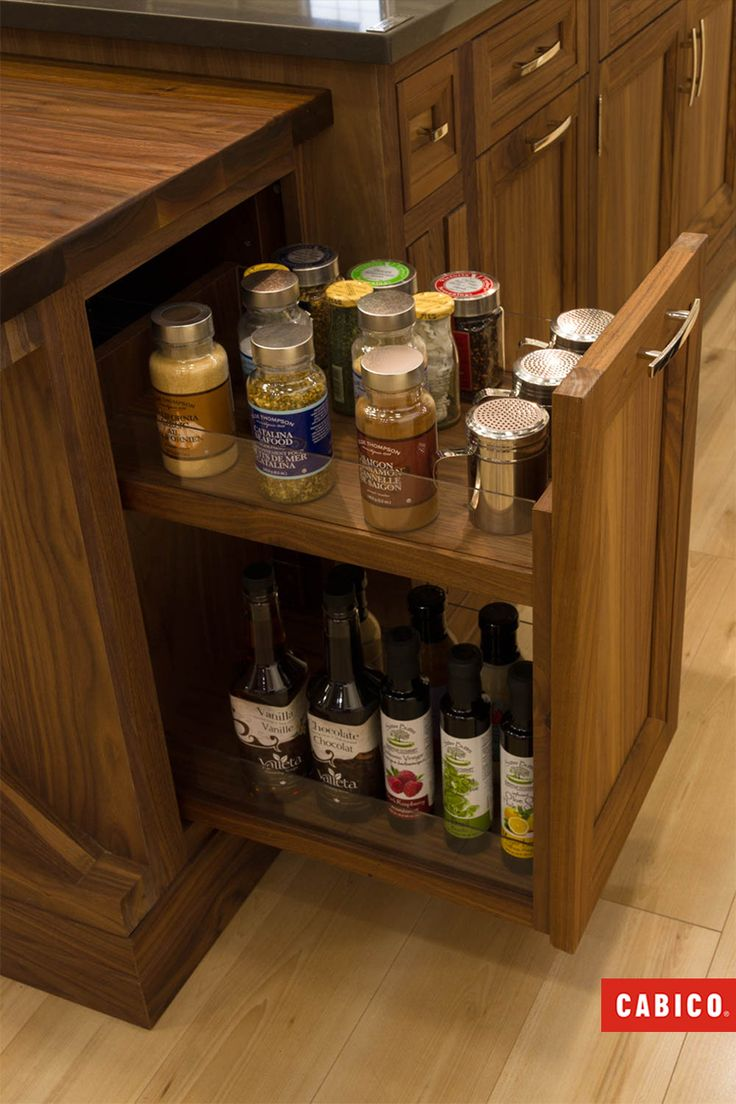 Pocket doors to hide the kitchen sink and storage shelves - Pocket Doors Pull Out Spice Cabinets Easy To See Easy To Access Easy To Hide Kitchen Storage