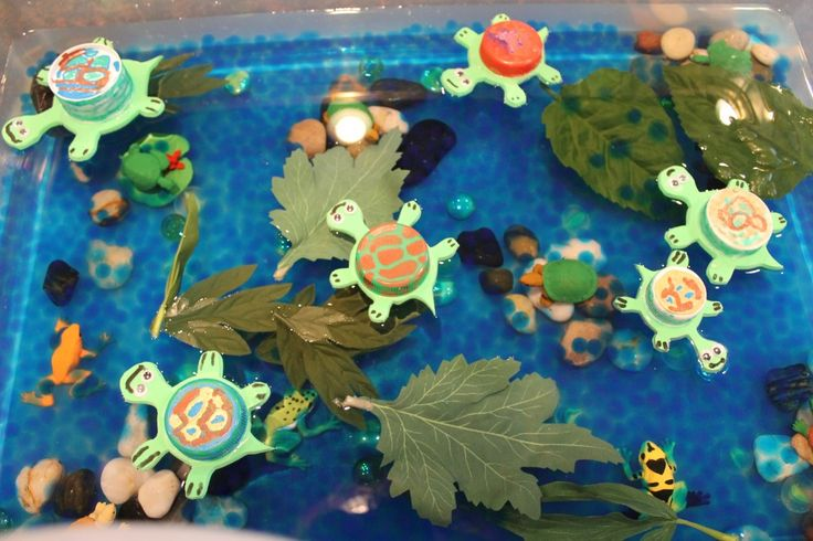 Floating Sea turtles using plastic,bottle caps.