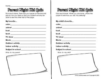 Here is a fun activity for both your students and your parents! Students fill out the left side of the paper and fold it so that their parents cann...
