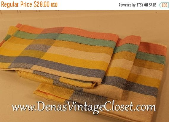 40% OFF SALE Vintage Pure Linen Pink Green Blue Yellow Gold Striped Kitchen Towel Set 3 PCS New Without Tags
