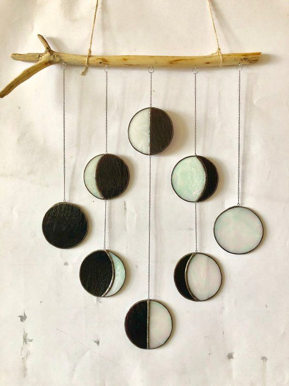 Stained Glass Moon Phase 8 Step, Mobile white Suncatcher Wood ...