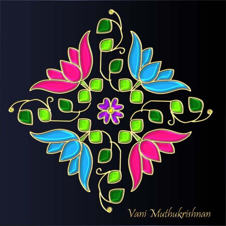 My Kolam: Pink & Blue Lotus Flowers Kolam.