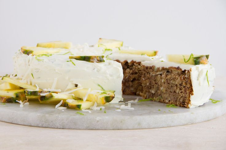 Coconut, Pineapple + Banana Cake (Wheat & Dairy-Free)  [not quite. . . but if you sub out the honey (agave?), and use either vegan yogurt or cream cheese for the icing - then it is veganized]