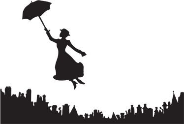 Mary Poppins Silhouette Sticker - TenStickers