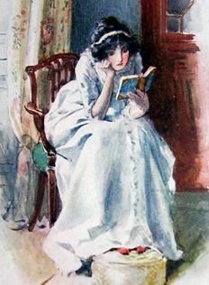 Illustration of Catherine Morland in Jane Austen's Northanger Abbey.  Reading too many novels?  Pffft. No such thing.
