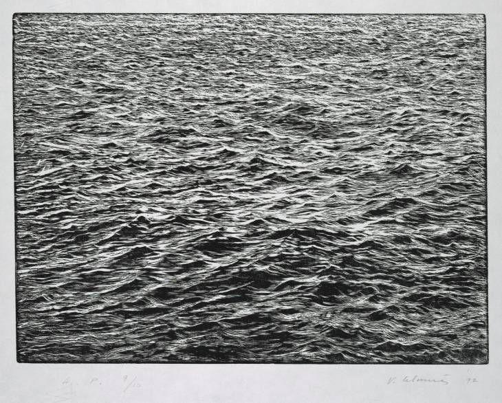 "Vija Celmins (born 1938),   ""Ocean Surface Woodcut 1992,"" 1992. Woodcut on paper."