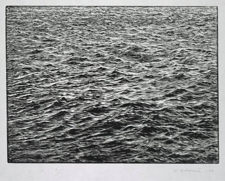 "Vija Celmins (born 1938),   ""Ocean Surface Woodcut 1992,"" 1992. Woodcut on paper."