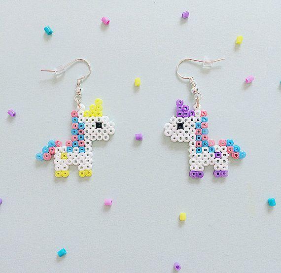 Bubblegum Unicorn Hama parel oorbellen van GeekGirlWorkshop op Etsy
