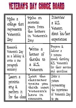 Veteran's Day Choice Board