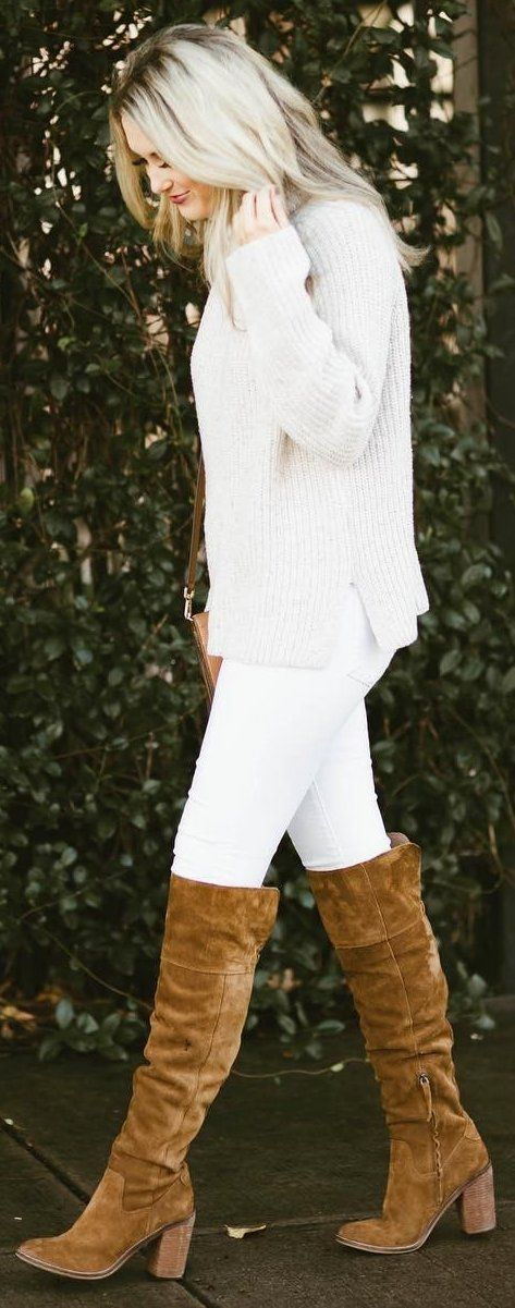 #winter #fashion /  Cream Knit + White Skinny Jeans + Camel OTK Boots