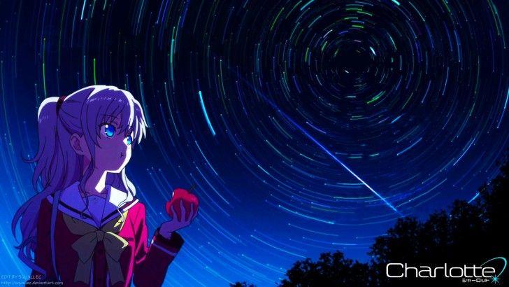 Download Charlotte Anime Girl Wallpaper Night Sky 1920x1080
