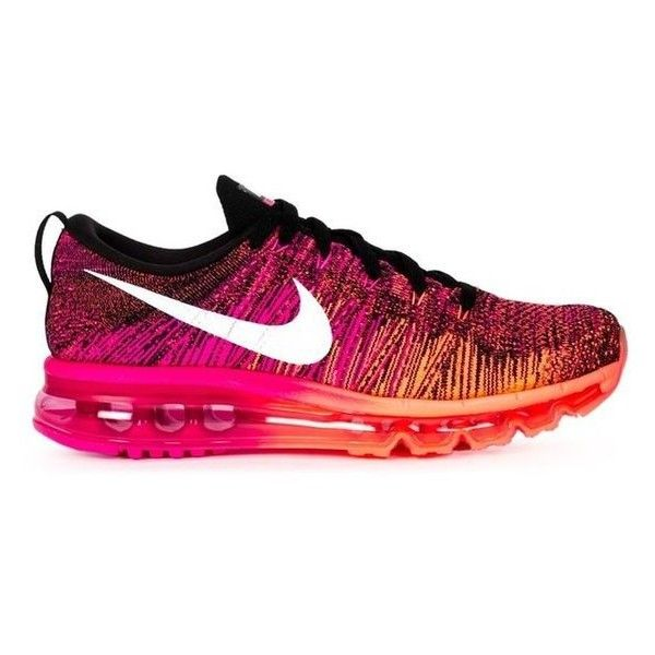 Nike Womens Nike Flyknit Max Sneakers ❤ liked on Polyvore featuring shoes, sneakers, nike shoes, nike, lace up sneakers, multicolor sneakers and lace up shoes
