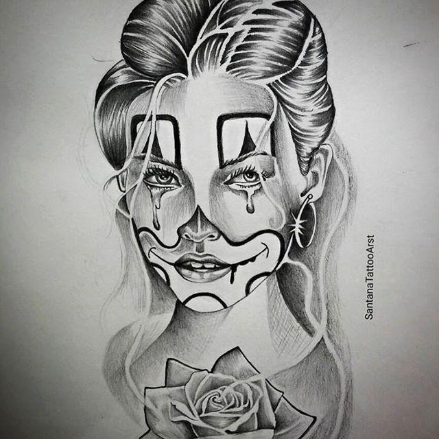 Best 25 clown tattoo ideas on pinterest evil clown for Chicano clown girl tattoos