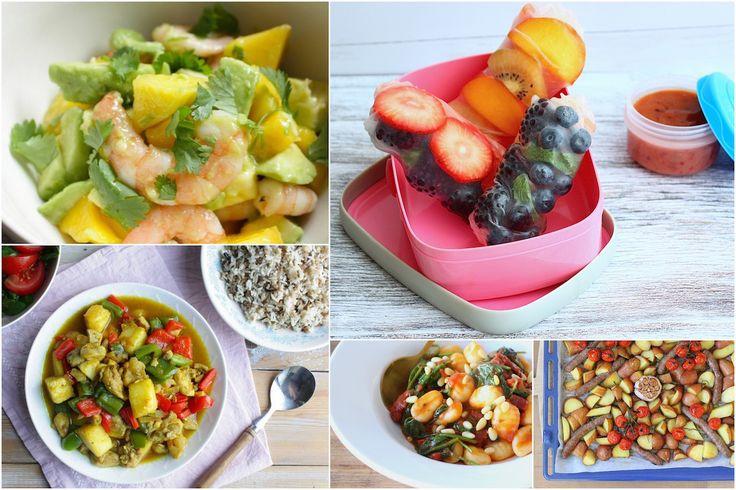 Een fruitig weekmenu met o.a. summer rolls, kip kerrie met ananas, salade met avocado, mango en garnalen en rozemarijn aardappels met worst. // Francesca Kookt