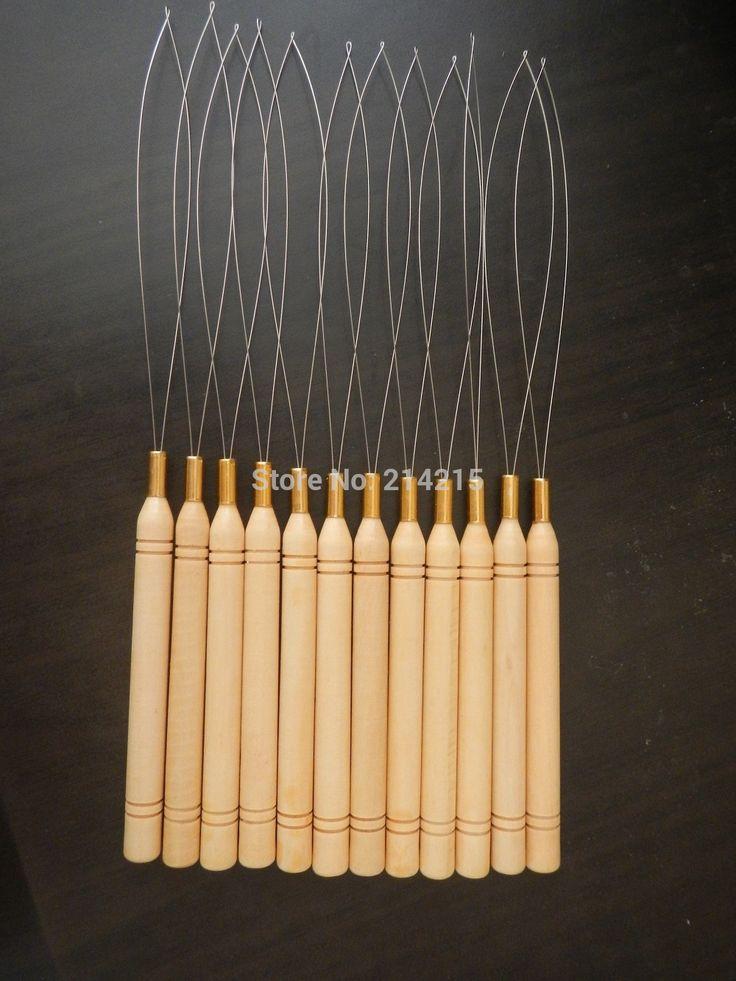 10 unids bucle micro anillos bucle de herramientas threader aguja utilizada con pinza de pelo y cuentas de plumas de extensión del pelo humano herramientas