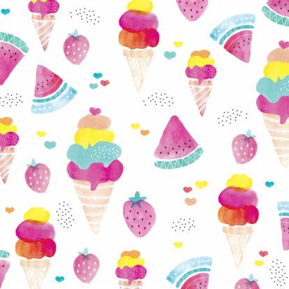 Water melon, ice cream and strawberry summer illustrations in watercolors - Maaike Boot // Kaartje2Go