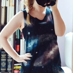 Turn an old t-shirt into a comfy galaxy print top with this easy, bleach-free tutorial.