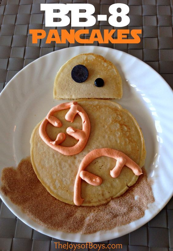 Who wouldn't love this easy Star Wars breakfast?  These BB-8 pancakes are so fun and any young Jedi would eat them right up.