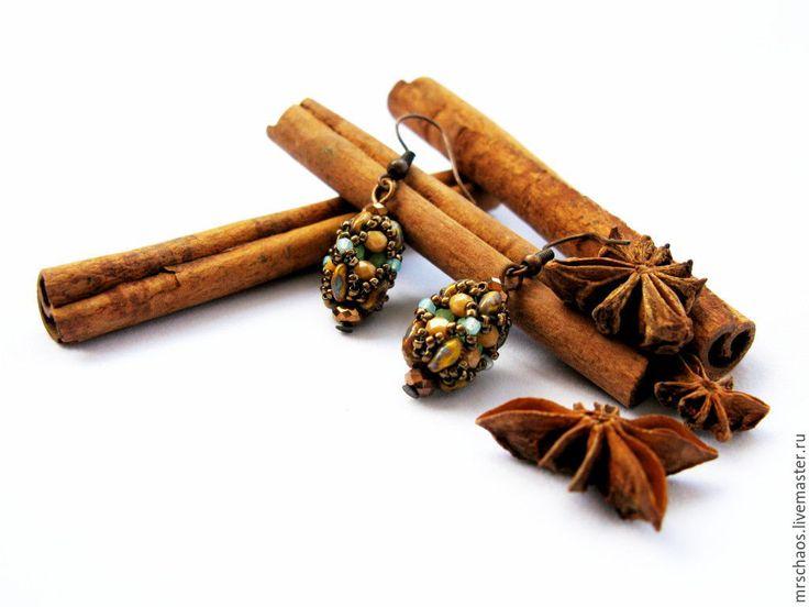 Купить Гречишный мед. - коричневый, серьги, мед, Медовый, медовый цвет, счастье, радость, сладости