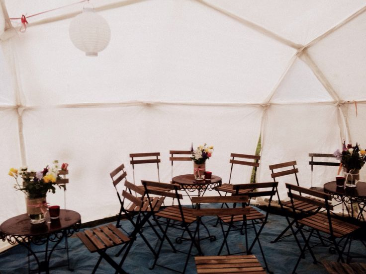 One of our Dome Tents, a place to chill and chat at a wedding with a glass of champagne and cake. www.atmospherestentsandevents.com