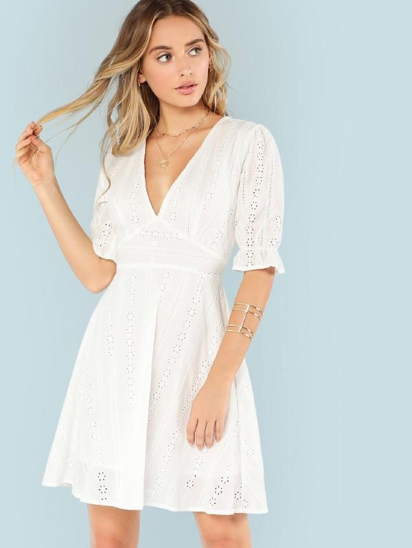 2f0a9d4eb05f Ruffle Cuff Eyelet Embroidered Plunging Dress -SheIn(Sheinside ...