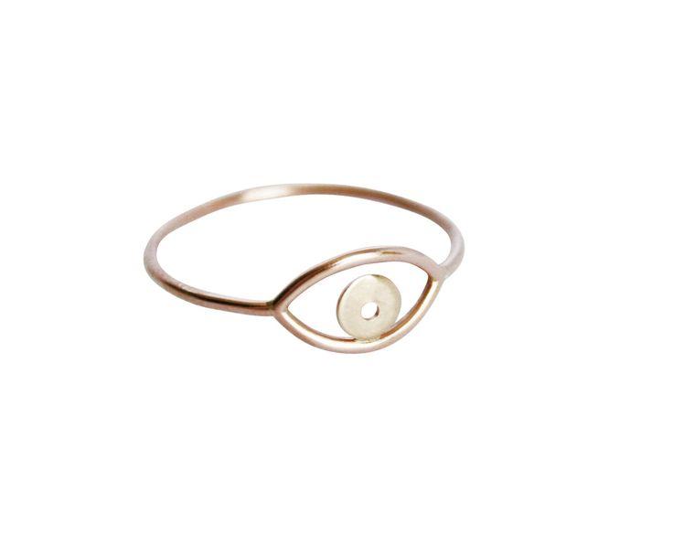 Rose & Yellow Gold Evil Eye Ring, Eye Ring, Evil Eye Ring, Rose Gold Ring, Simple Gold Ring, Thin Gold Ring, Mixed Gold Ring, Delicate Ring by StefanieSheehan on Etsy https://www.etsy.com/listing/129715612/rose-yellow-gold-evil-eye-ring-eye-ring