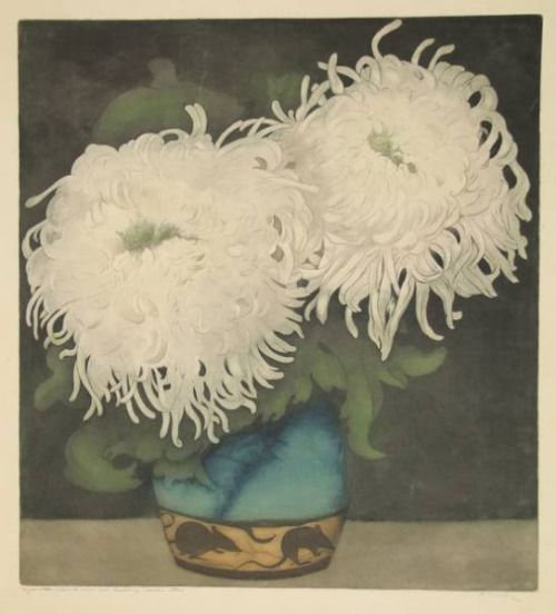 Frans Everbag Etching and Aquatint in Colours 'Witte Chrysanten in Blauwgoene Vassje' ca.1911.  (Source: findartinfo.com)