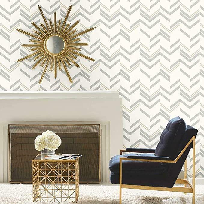 Roommates Gray Chevron Stripe Peel And Stick Wallpaper Amazon Com Apartment Wall Decor Peel And Stick Wallpaper Wallpaper Decor