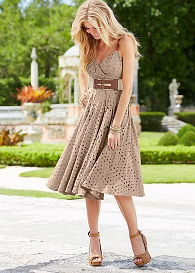 Oval Eyelet Dress -  A stunningly natural way to say sweet and pretty. Adjustable faux leather straps