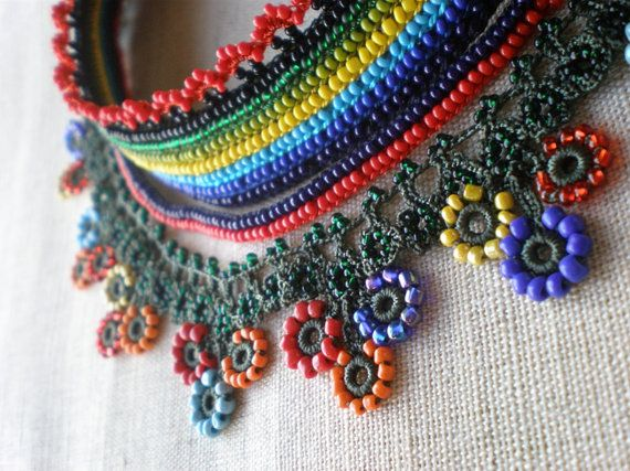 Beautiful beaded crochet necklace in bright colours.
