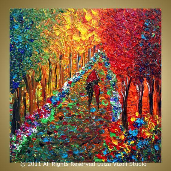 That color and texture... so beautiful. RAINY DAY PARK Romance12x12 Original Impasto Oil Painting Trees Landscape Fall Fine Art by Luiza Vizoli