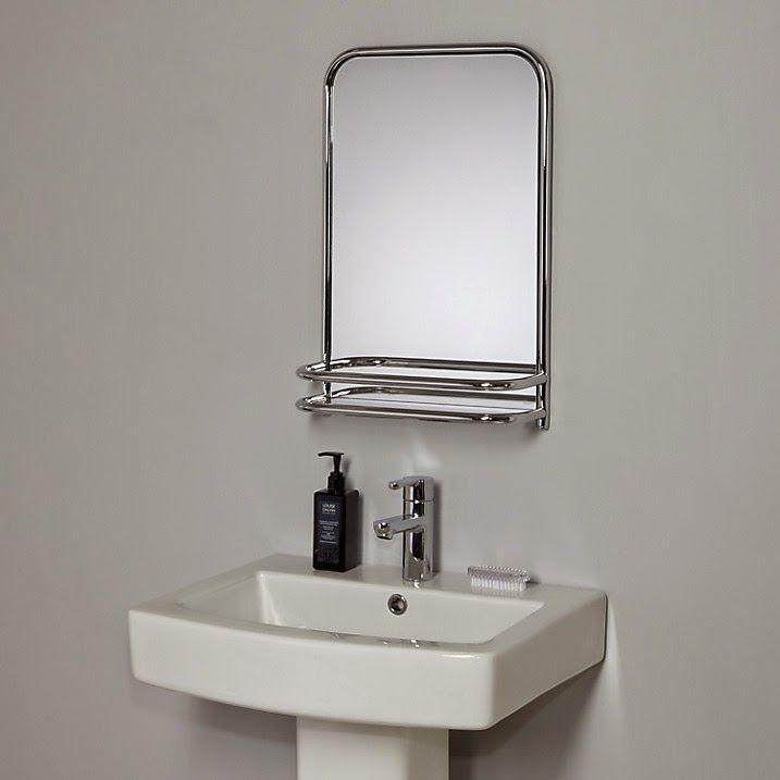 Art Deco Style Bathroom Wall Mirror With Shelf