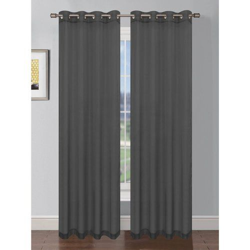 Platinum Sheer Voile Curtain with Grommets (Dark Grey)