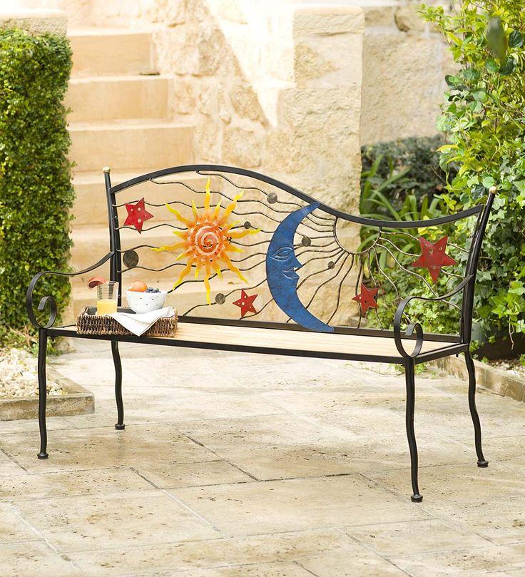 Stars Moon And Sun Wood U0026 Metal Bench Garden Furniture Backyard Park Porch  Seat