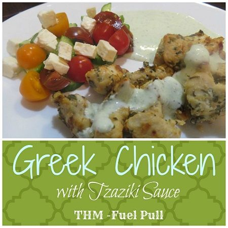 This Greek chicken has a great flavor and is an FP on Trim Healthy Mama. The tzaziki is light and makes a lovely salad dressing and/or dipping sauce. via @aohousewife