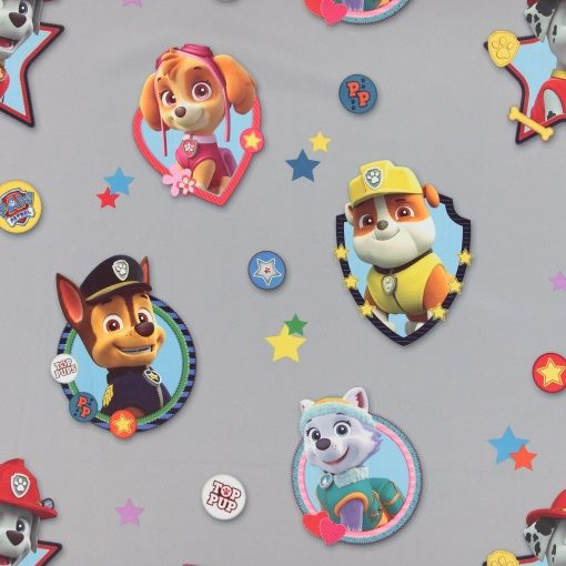 Weaved grey blackout with Paw Patrol. Great for DIY curatins in the kid's roome / nursery.