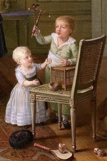 Arent Anthoni Roukens en zijn gezin in 1786 geschilderd door Willem Joseph Laguy (1738-1798). Dit familieportret geeft een beeld van de elite in Nijmegen. Arent Anthoni Roukens (1747-1822), schepen en burgemeester in Nijmegen, is met zijn echtgenote Adriana in modieuze kleding afgebeeld in hun buitenhuis. Hun kinderen Johan Michiel en Adriana Jeanne spelen met een vinkentouw, op de grond liggen een valhoedje en een pluimbalspel.