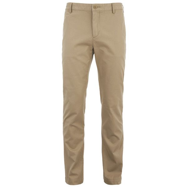 Lacoste Men's Gabardine Chino Pants - Macaroon (€125) ❤ liked on Polyvore featuring men's fashion, men's clothing, men's pants, men's casual pants and stone