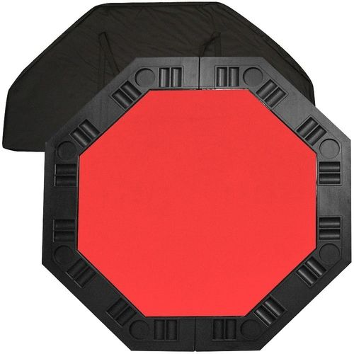 8 Player Octagon Poker Table Top With Red Felt Playing Surface And Cup  Holders