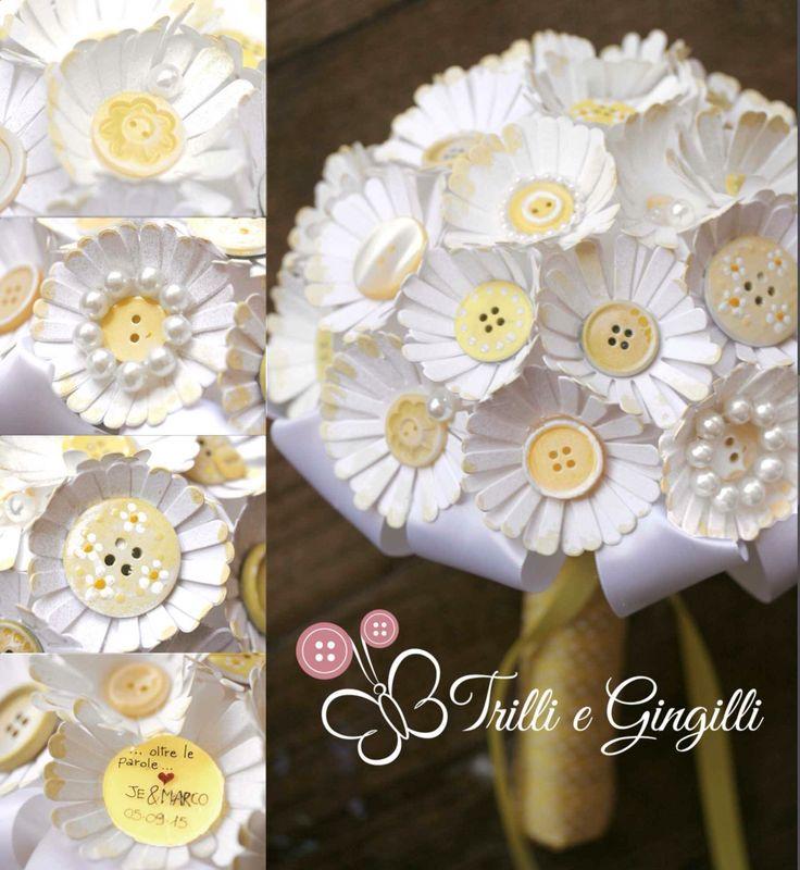 Bouquet di margherite di carta e bottoni by Trilli e Gingilli - info@trilliegingilli.com - www.trilliegingilli.com
