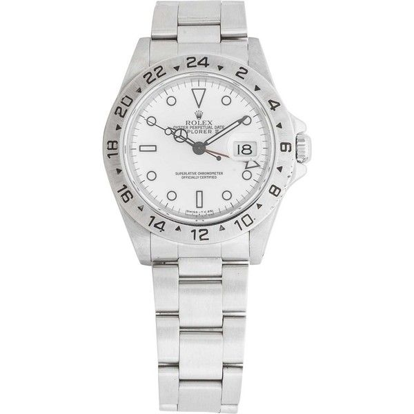 Pre-owned Rolex Oyster Perpetual Date Explorer II ($4,290) ❤ liked on Polyvore featuring men's fashion, men's jewelry, men's watches, silver, mens diamond bezel watches, pre owned mens rolex watches, mens leather strap watches, men's white dial watches and mens white watches