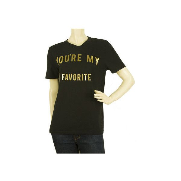 Zoe Karssen You are my Favorite Black Gold Womans T- Shirt Top Size M via Polyvore featuring tops, t-shirts, zoe karssen, gold top, zoe karssen tee, gold tee and gold t shirt